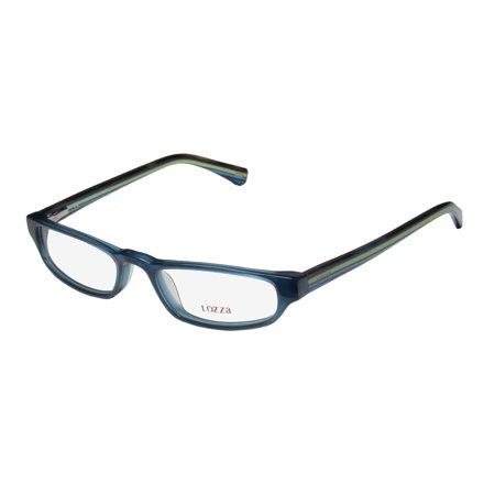 New Lozza 1819n Mens/Womens Designer Full-Rim Blue / Multicolor Signature Emblem Must Have Trendy Frame Demo Lenses 50-18-145 Spring Hinges Eyeglasses/Eye (Trendy Eyeglasses For Men)