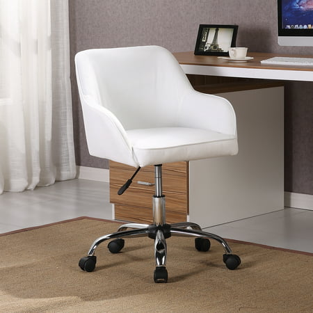 Belleze Mid Back Desk Task Office Chair Padded Seat Lumbar Support Velvet Fabric, White