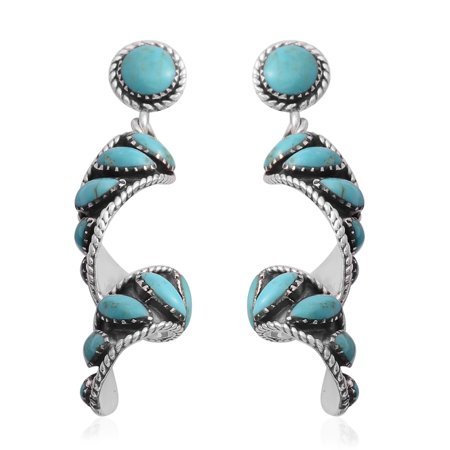 Genuine Turquoise Gemstone 925 Sterling Silver Rhodium Plated Drop Dangle Swirl Earrings Southwest Jewelry(Blue/Multi