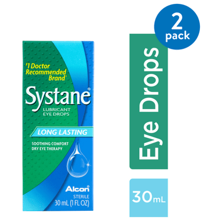 (2 Pack) SYSTANE Lubricant Eye Drops Long Lasting, 30
