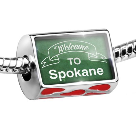 Bead Green Sign Welcome To Spokane Charm Fits All European Bracelets