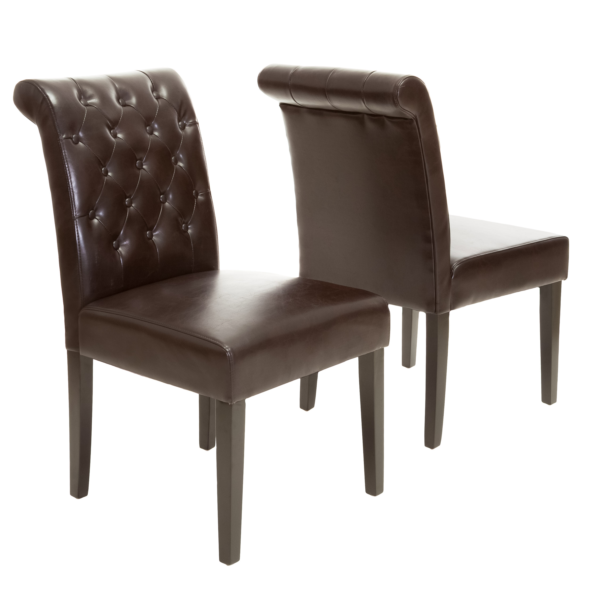 Mario Bonded Leather Tufted Dining Chairs (Set of 2)