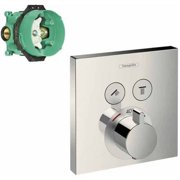 Hansgrohe K15763-01850CR ShowerSelect E Thermostatic Square 2-Function Trim with Rough-In, Various Colors