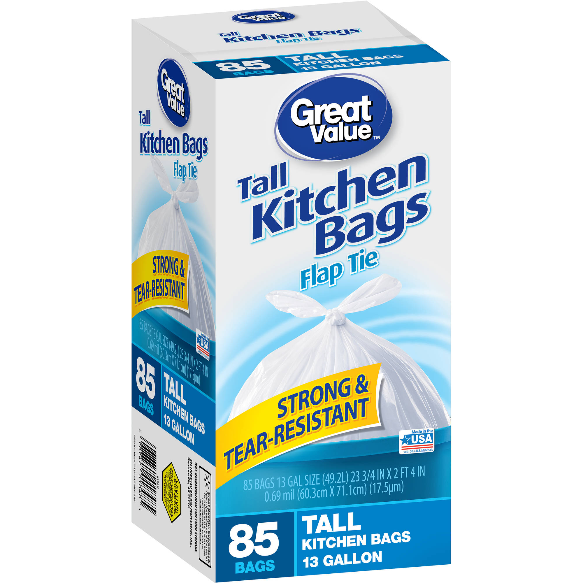 Great Value Flap Tie Closure Tall Kitchen Bags, 13 gal, 85 count
