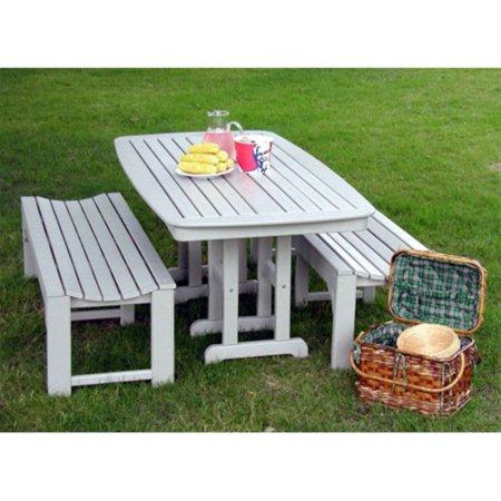 Phenomenal Polywood Nautical 3 Pc Recycled Plastic Outdoor Bench Dining Set Creativecarmelina Interior Chair Design Creativecarmelinacom
