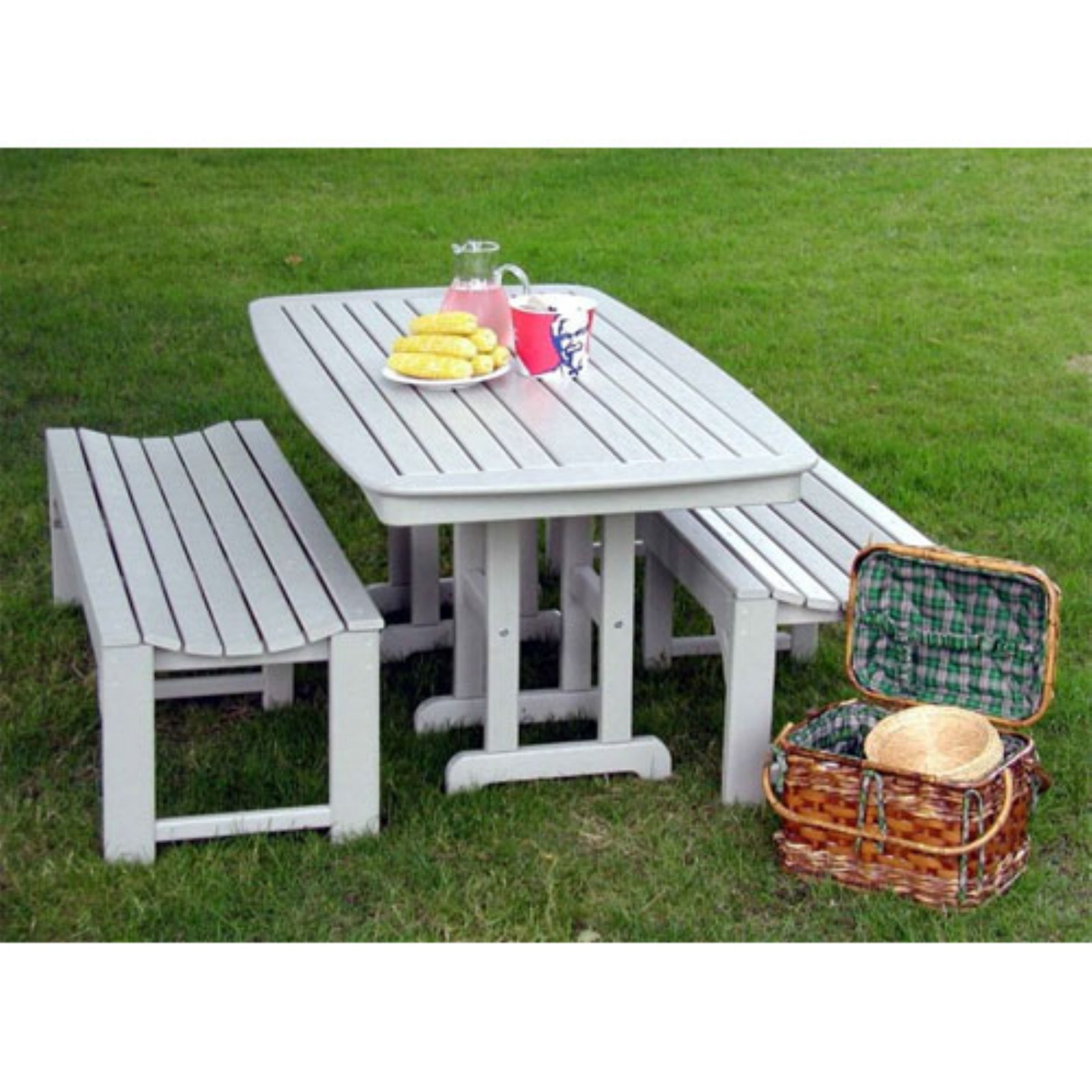 POLYWOOD® Nautical 3 Pc. Recycled Plastic Outdoor Bench Dining Set
