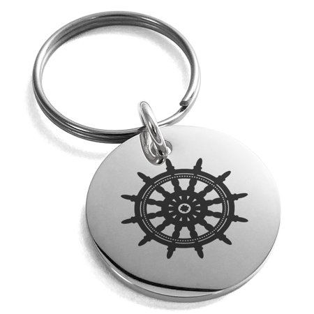 Stainless Steel Nautical Ship Helm Wheel Engraved Small Medallion Circle Charm Keychain Keyring](Ships Helm)
