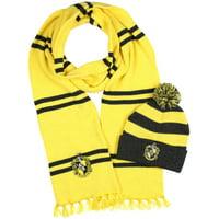 Harry Potter Hogwarts Houses Knit Hufflepuff Scarf & Pom Beanie Set (Hufflepuff)