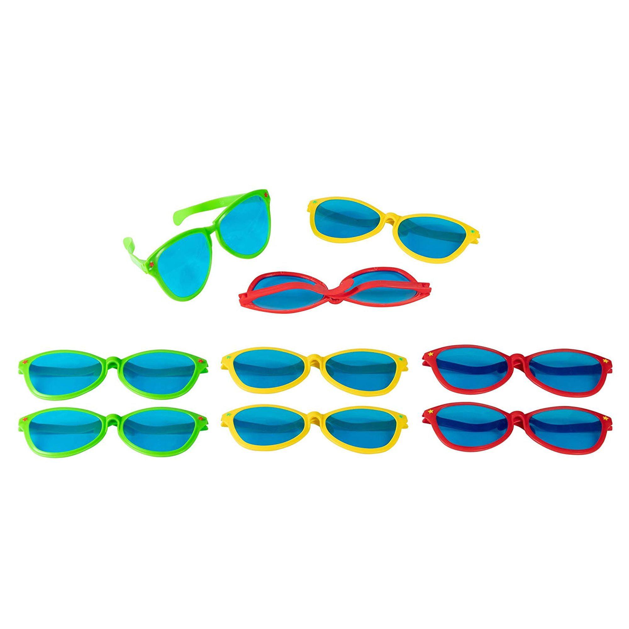 Bulk Jumbo Giant Neon Novelty Party Costume Sunglasses for Kid 12 Pack 3 Color