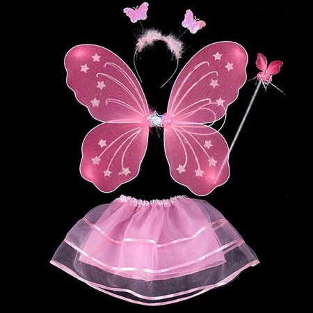 Girls Kid Fairy Butterfly Wing+Wand+Headband+Skirt Set Party Play (Children's Play Costumes)