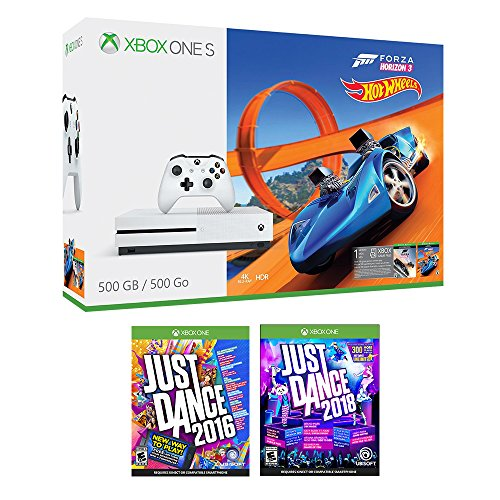 Xbox One Just Dance Racing Bonus Bundle (3 Items): Xbox One S 500GB Console with Forza Horizon 3 Hot Wheels, Just Dance 2018, and Just Dance 2016 Games
