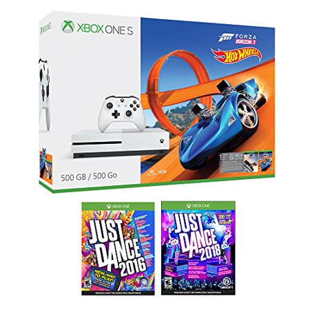 Xbox One Just Dance Racing Bonus Bundle  3 Items   Xbox One S 500Gb Console With Forza Horizon 3 Hot Wheels  Just Dance 2018  And Just Dance 2016 Games