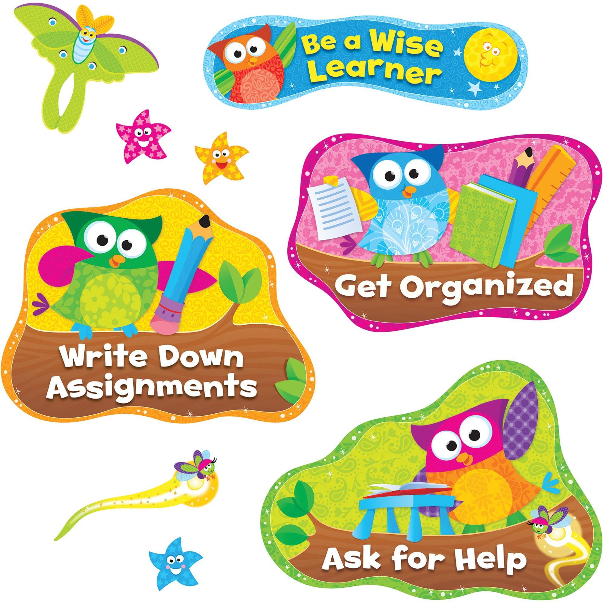 Trend, TEP8361, Owl Study Habits Bulletin Board Set, 14 / Set, Multicolor