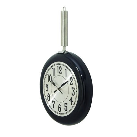 Decmode Eclectic 19 x 11 inch black frying pan-inspired iron wall clock, Black