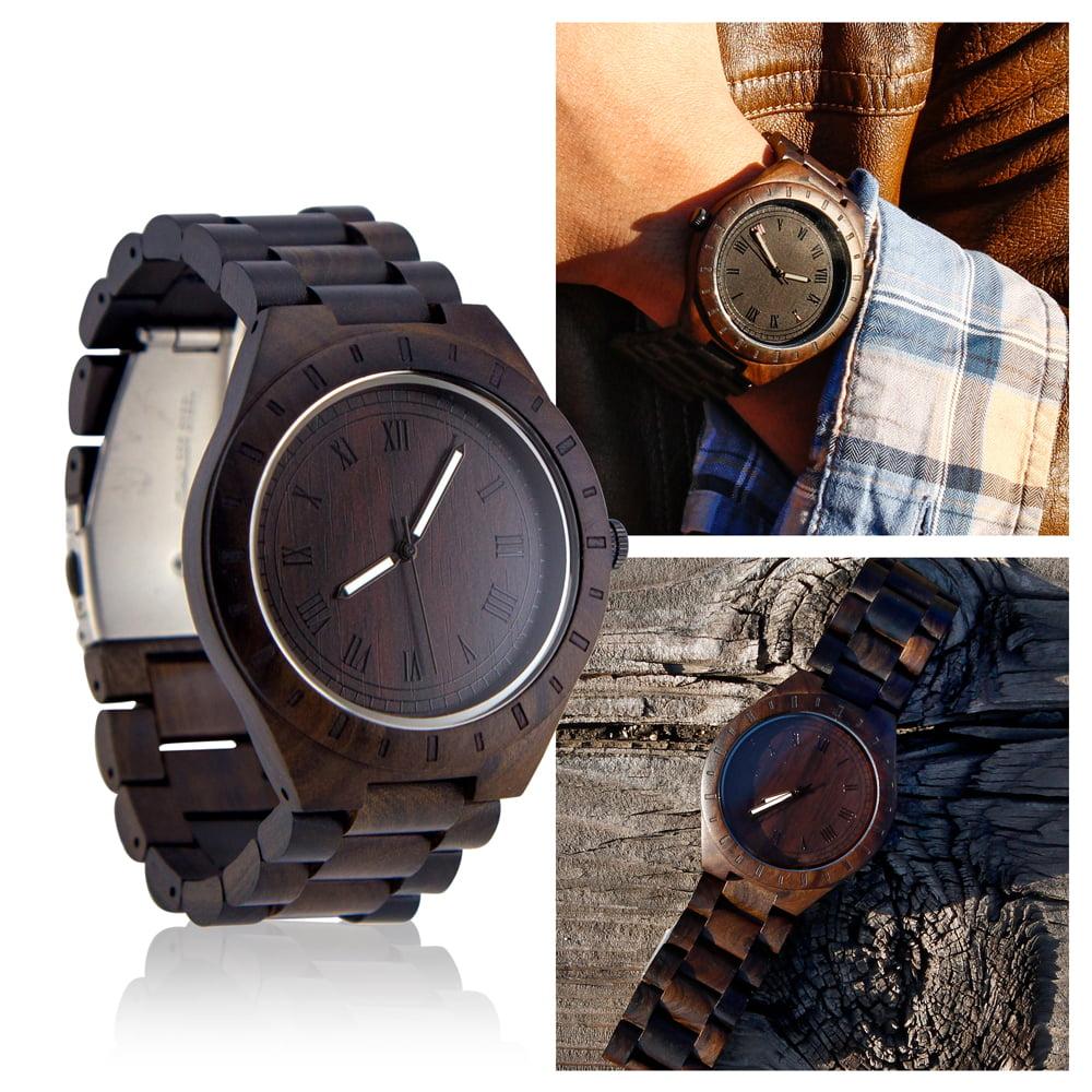 Men's Unique Luxury Wristwatch Casual Wooden Quartz Watches Fashion Natural Wood Watch   Dark Brown by Oct17