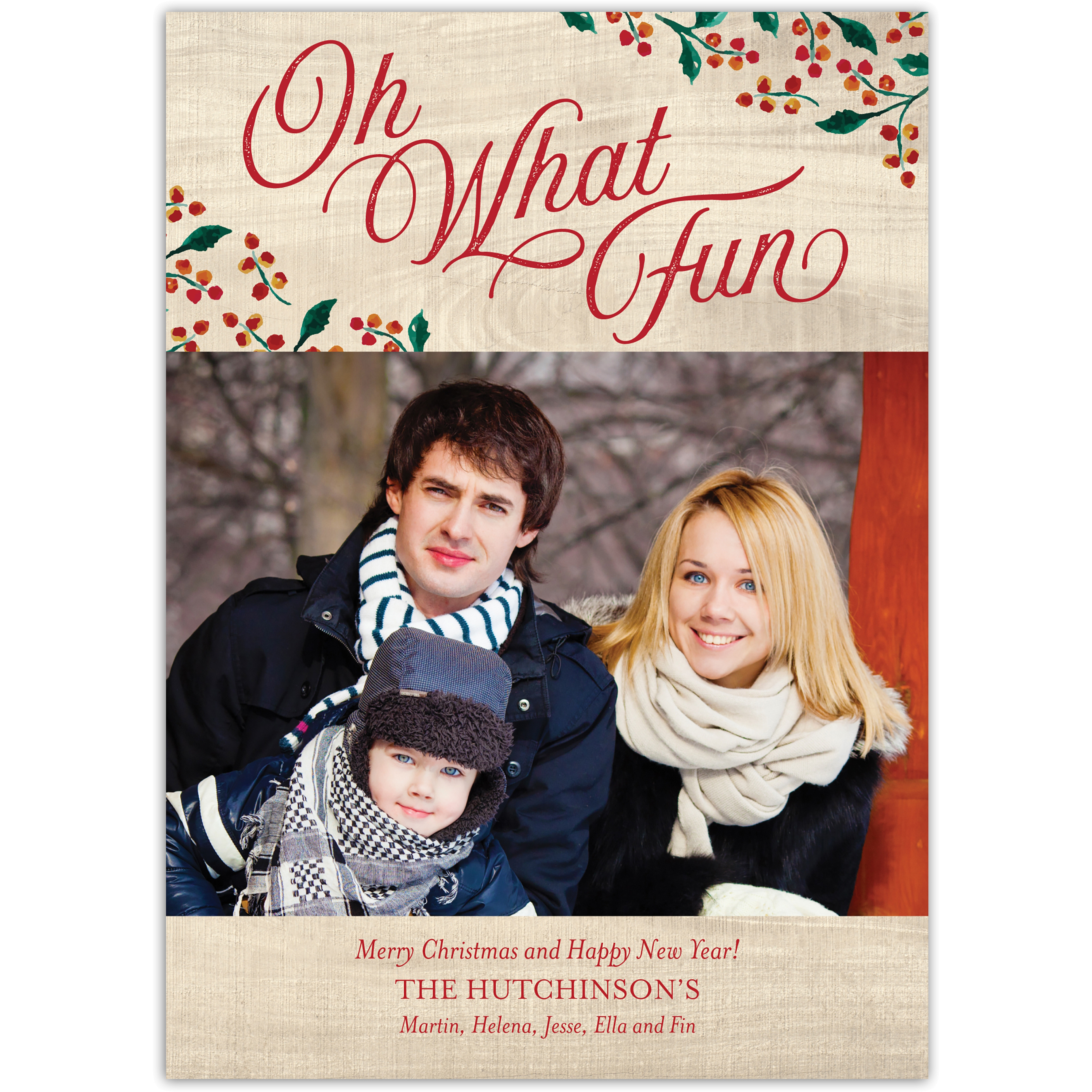 Oh What Fun - 5x7 Personalized Christmas Card