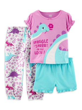 Child of Mine by Carter's Toddler Girl Short Sleeve Poly Pajamas, 3pc Set