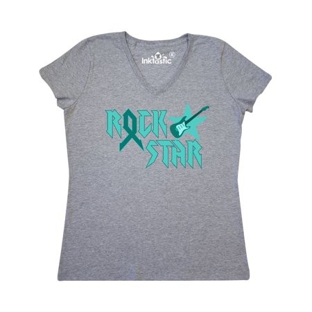 Rock Star Ovarian Cancer Women's V-Neck T-Shirt