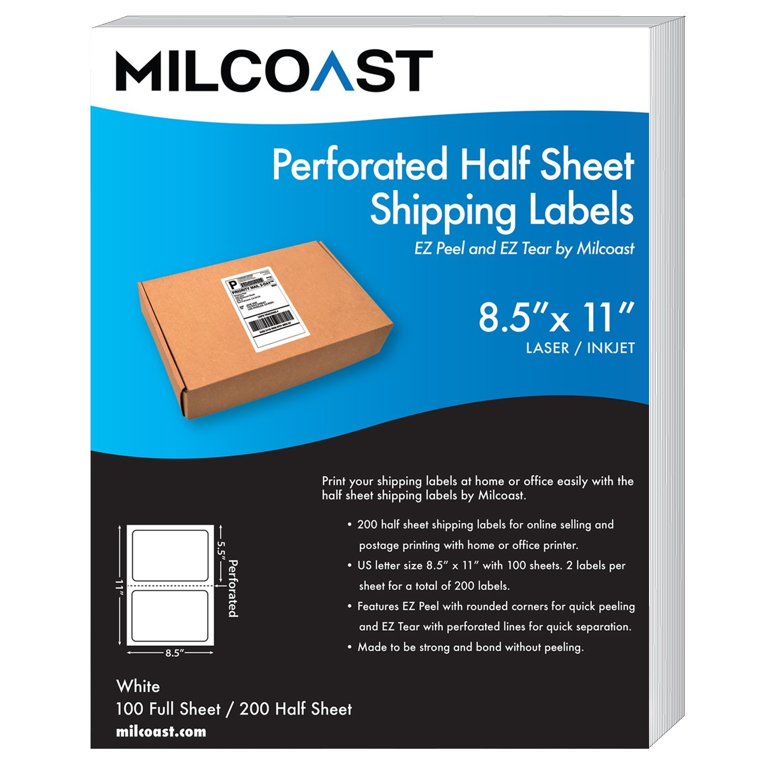 Milcoast Perforated Half Sheet Adhesive Shipping Labels – EZ Peel and EZ Tear, For Laser or InkJet Printers - For Shipping, FBA, UPS, USPS, FedEx (100 Sheets)
