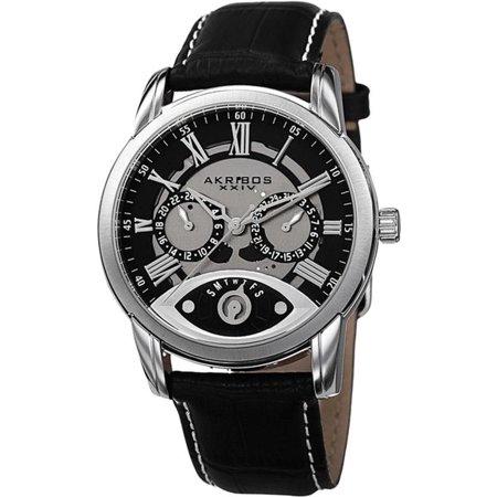 AK725SSB GMT Day Date Leather Strap Silvertone Black Mens Watch