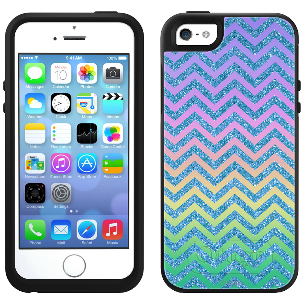 SKIN DECAL FOR OtterBox Symmetry Apple iPhone SE Case - Rainbow on Chevron ZigZag Blue DECAL, NOT A CASE