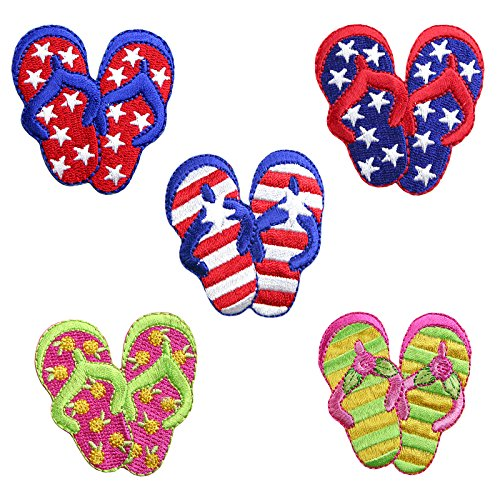Altotux Flip Flops Sandals Shoes Self Adhesive Iron On Applique Sticker Patch (Floral)
