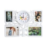 """KARMAS PRODUCT Wall Picture Frame Collage 4 Openings Photo Frame with One Clock for Home Gallery Decorative,2-4""""x6"""", 2-7""""x5"""",1-Clock, White"""