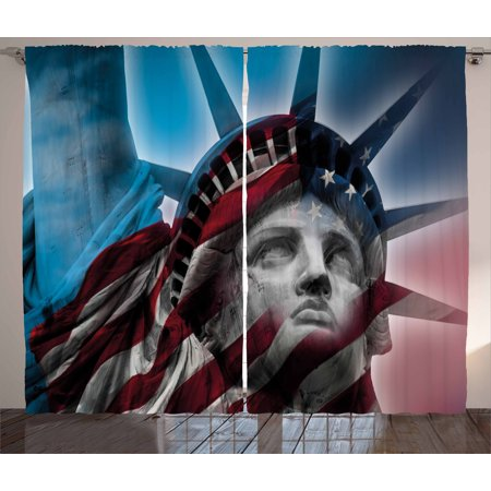 United States Curtains 2 Panels Set, Statue of Liberty and American Flag Double Exposure Justice Democracy Freedom, Window Drapes for Living Room Bedroom, 108W X 108L Inches, Multicolor, by Ambesonne
