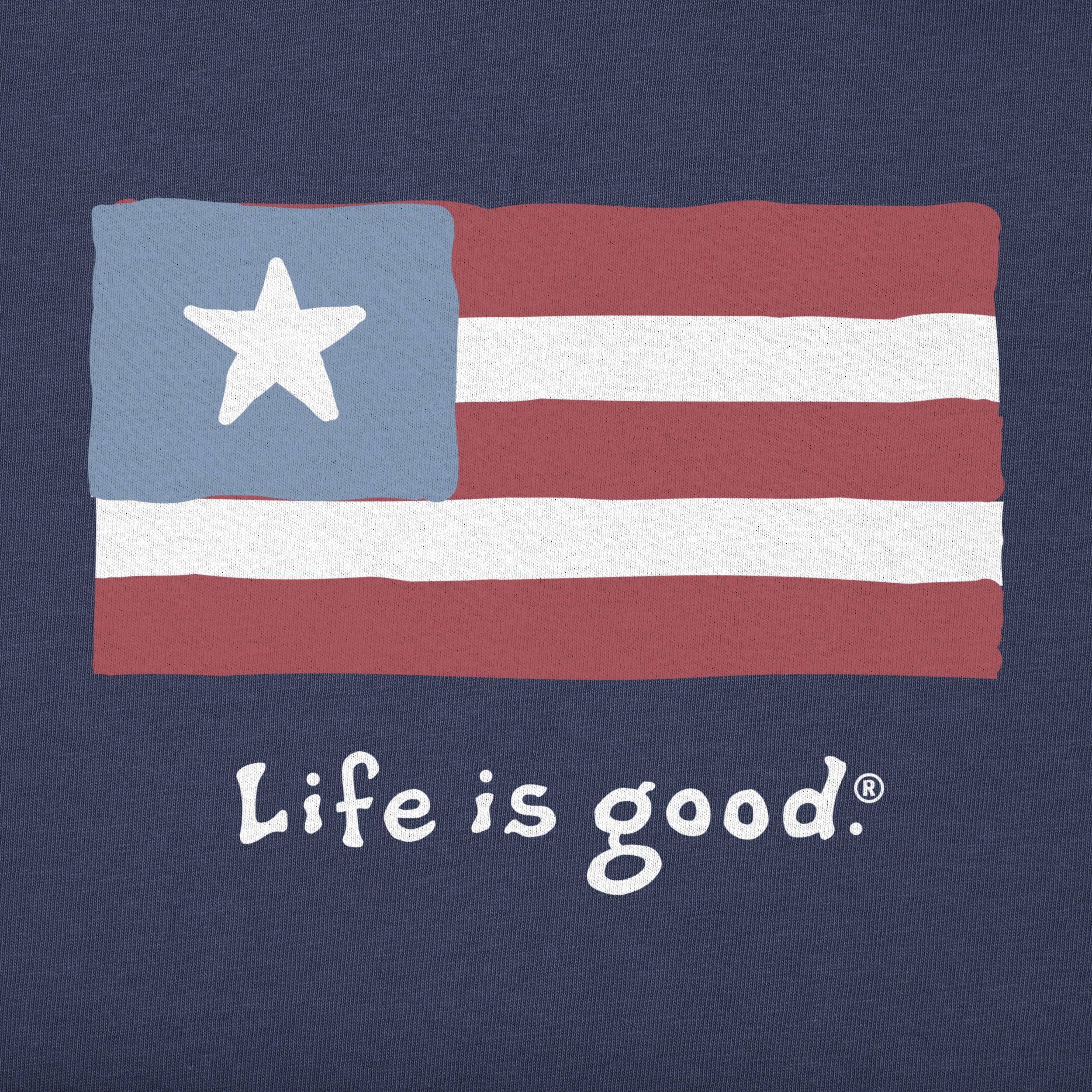 Life is Good Mens Vintage Crusher T-Shirt Three Stripes Flag
