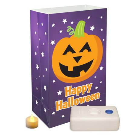 LumaBase Battery Operated Luminaria Kit with Timer, 6 Count Pumpkin