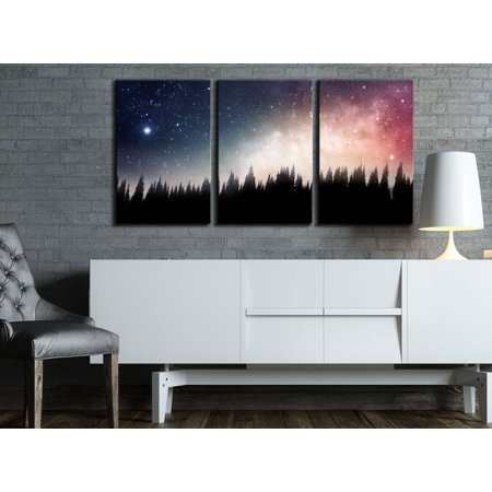 """wall26 3 Piece Canvas Wall Art - Forest at Night and the Spectacular Galaxy - Modern Home Decor Stretched and Framed Ready to Hang - 24""""x36""""x3 Panels"""