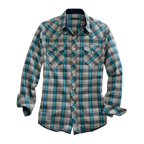 Western Shirt Mens L/S Plaid Snap Teal 10-001-0062-0232 BU