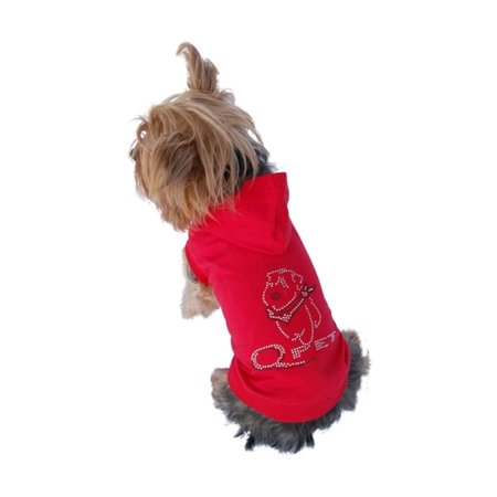 Red Pet Puppy Dog Short Sleeve Poly Cotton Hoodie Sweatshirt Apparel with Rhinestone Gem Logo - Medium (Gift for Pet)