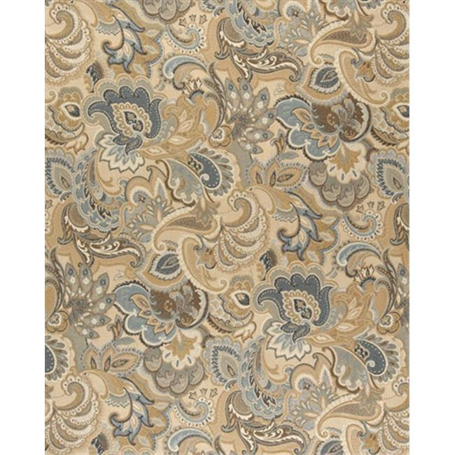 Designer Fabrics K0025A 54 in. Wide Gold, Blue And Green, Abstract Paisley Upholstery Fabric