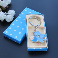 Baby Shower with Stork party Favors (12 PCS) Blue Girl Metal Keychain in Blue color Gift Box JK064B