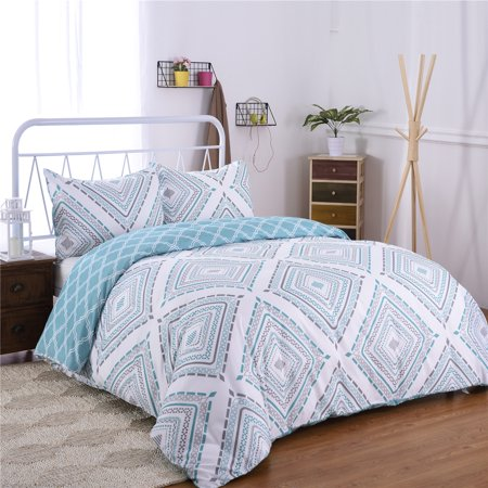 3-Piece Printed Duvet Cover Set ,Duvet Cover And Two Pillow Shams Queen Size 90 x 90 inches ()