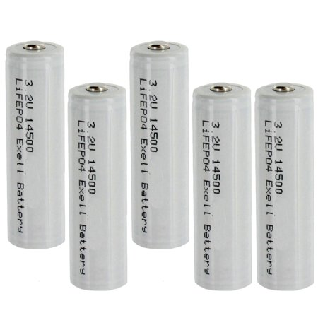5-PACK 3.2V 500mAh AA 14500 (14x50mm) LiFePO4 Rechargeable Batteries 30228