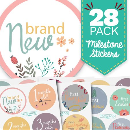 Monthly Baby Stickers - 28 Milestone Pack of Baby Girl Onesie Belly Stickers. Includes 12 months, 1st year milestones & first holidays. Perfect baby shower & newborn birthday gift. (Floral)