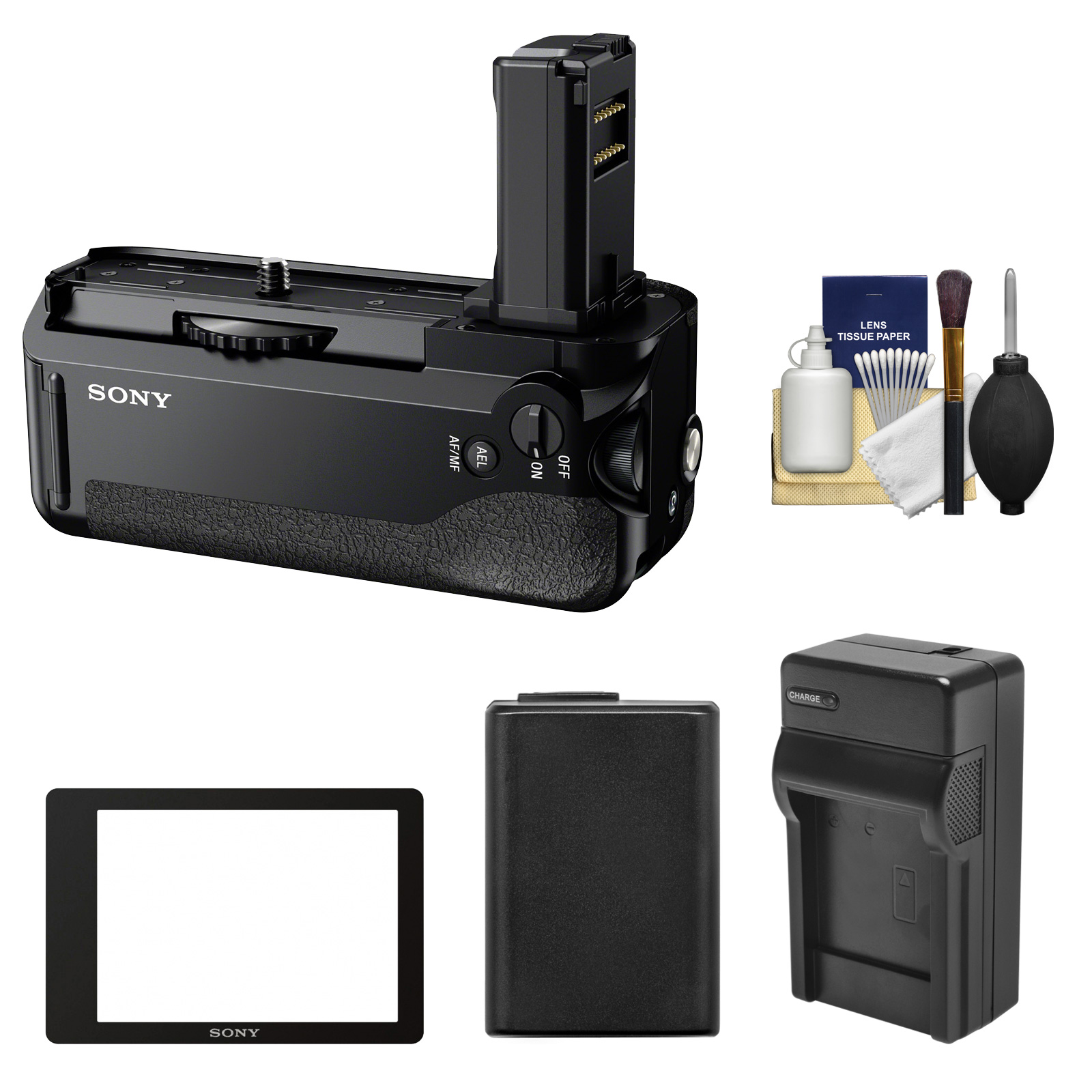 Sony VG-C1EM Vertical Battery Grip with PCK-LM16 Semi-Hard LCD Screen Protector + Battery & Charger Kit for Alpha A7, A7R & A7S Camera