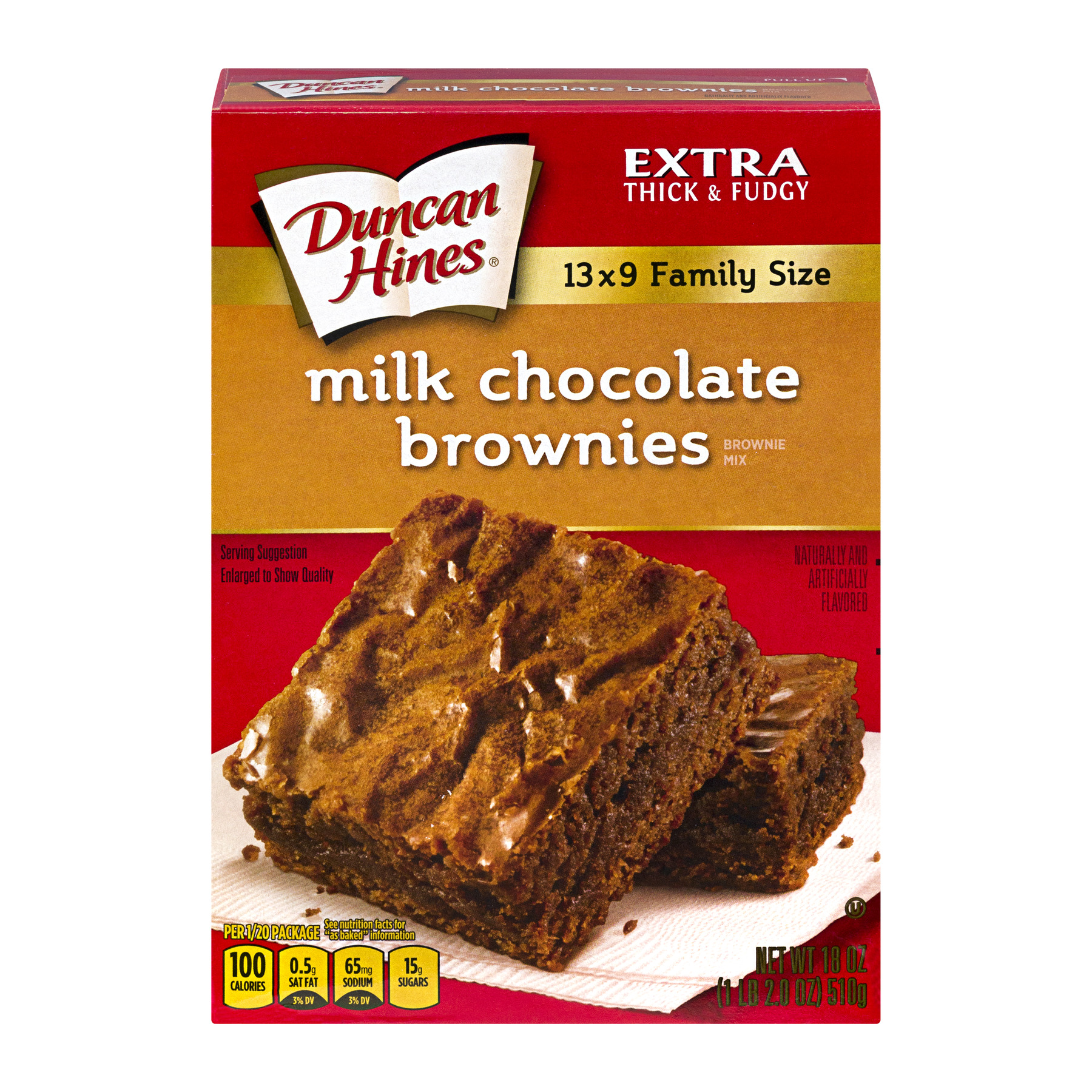 (5 Pack) Duncan Hines Milk Chocolate Brownie Dessert Mix, 18 oz Box