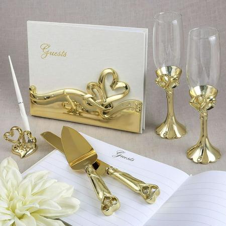 Gold Double Heart Themed Wedding Accessory Set](Wedding Theme)
