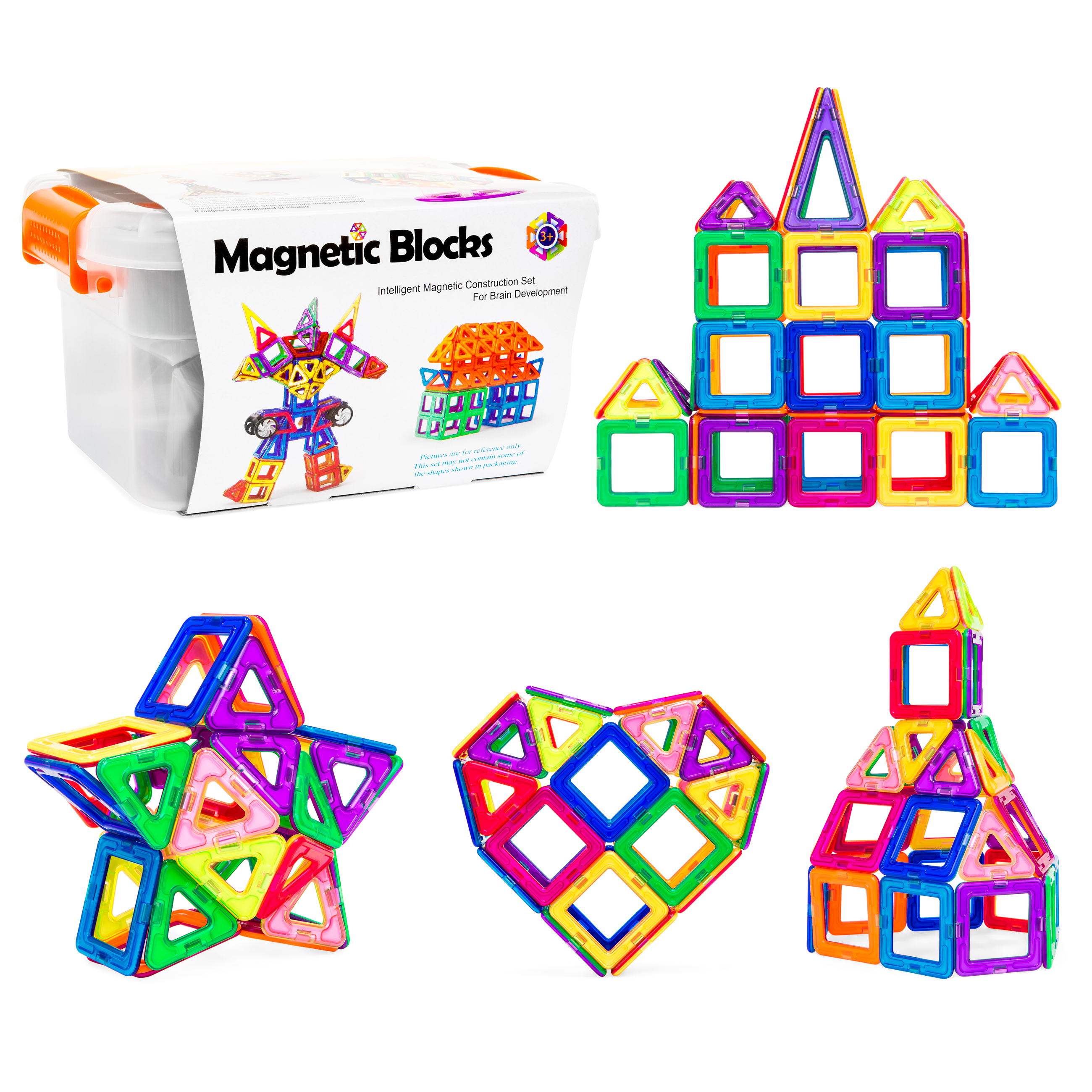 58-Piece Magnetic Building Blocks & Tiles STEM Educational Toy Set w  Carry Case... by Best Choice Products