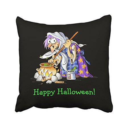 WinHome Vintage Popular Green Happy Halloween With Purple Witch Spells Potions Polyester 18 x 18 Inch Square Throw Pillow Covers With Hidden Zipper Home Sofa Cushion Decorative Pillowcases - Witch Potion Ingredients For Halloween