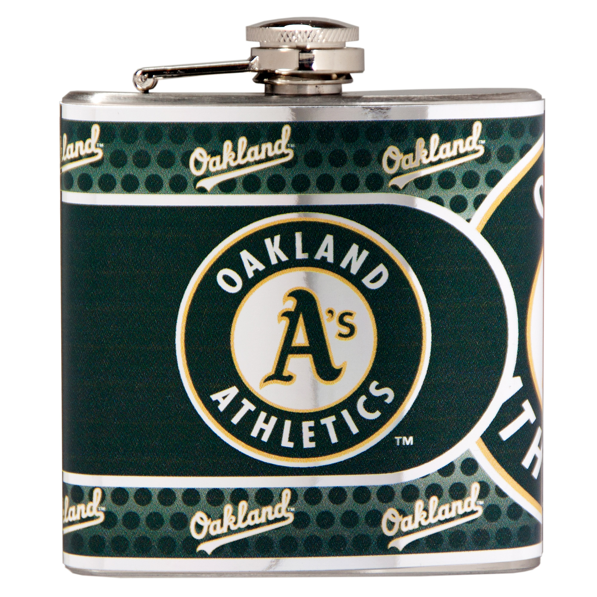 Oakland Athletics 6oz. Stainless Steel Hip Flask - Silver - No Size