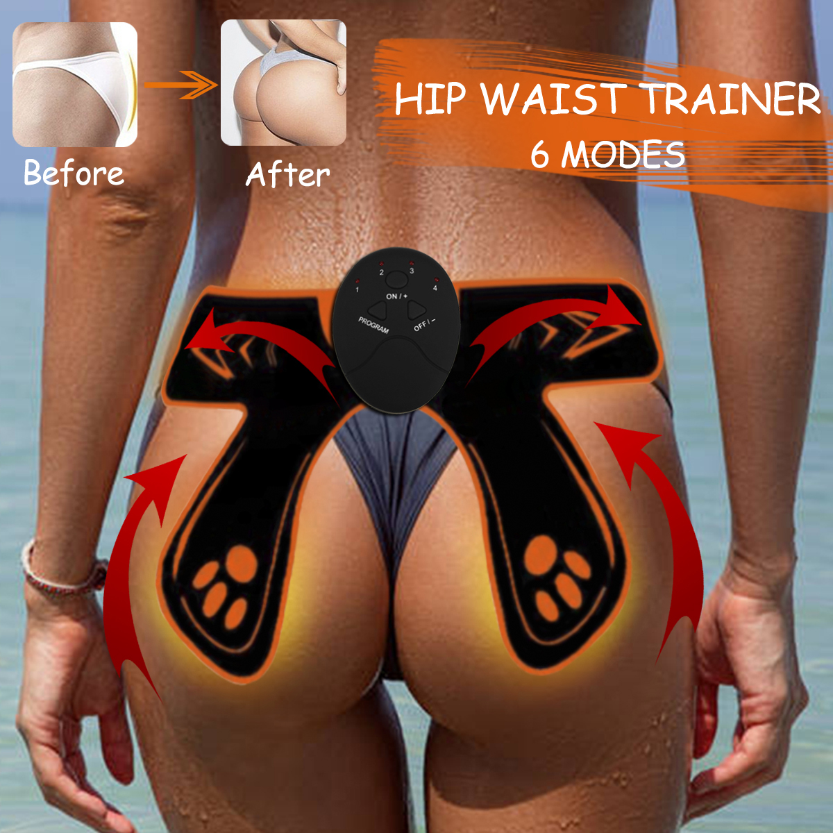 6 Modes EMS Hip Trainer, Training Booster Muscle Stimulation, Firm and Shape The Buttocks Hip Body Shaper Fitness