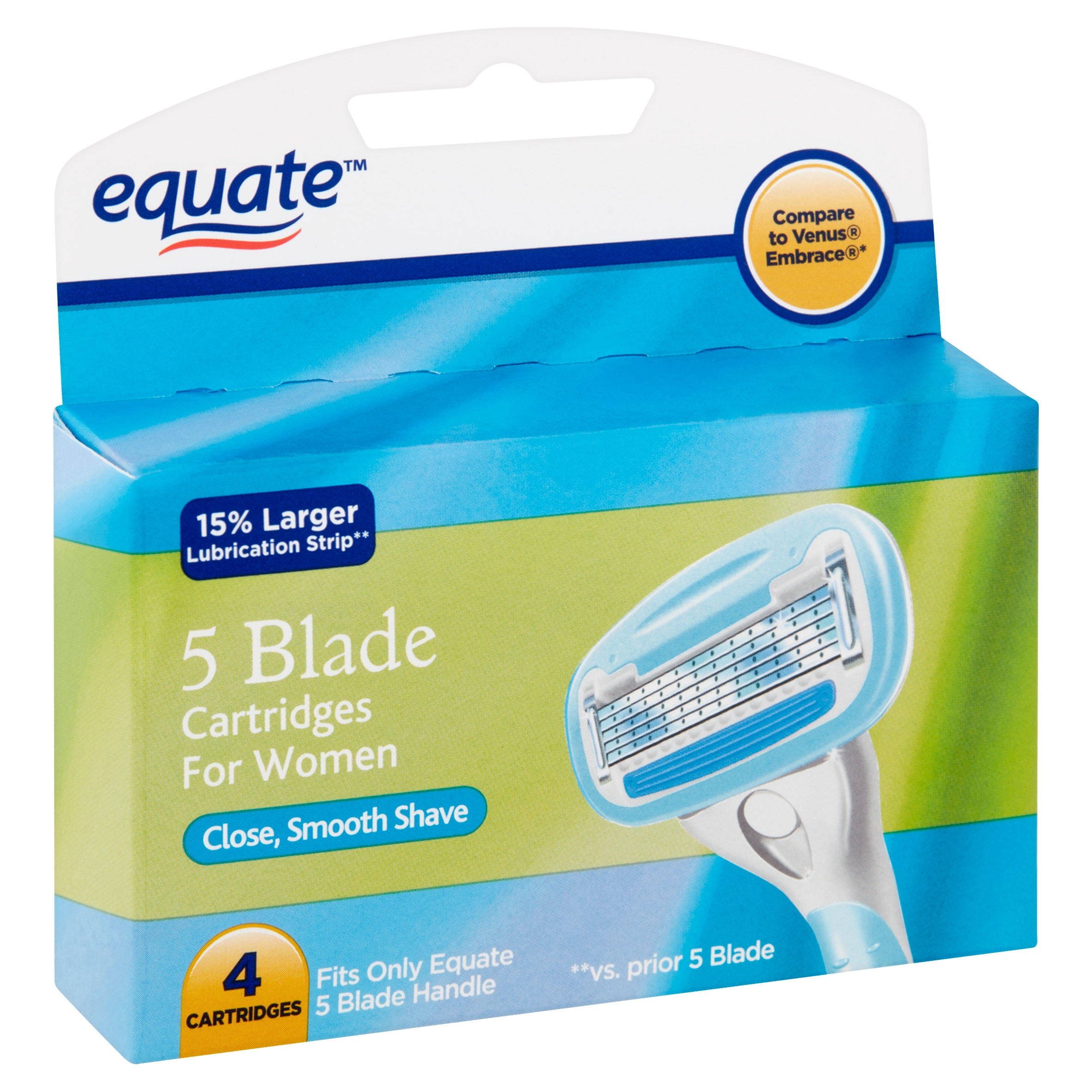 Equate 5 Blade Cartridges for Women, 4 count