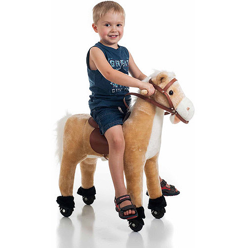 Happy Trails Plush Walking Horse with Wheels and Footrests