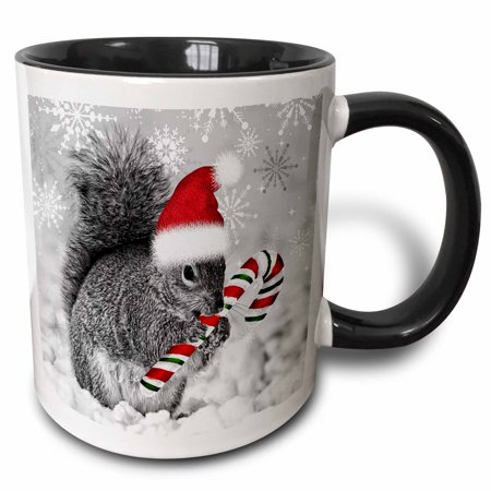 3dRose This cute Christmas squirrel has a candy cane and a Santa hat in the snow covered winter landscape. , Two Tone Black Mug, 11oz