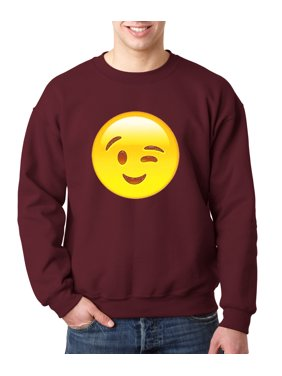 28fb01a90 Product Image 343 - Crewneck Emoji Face Winking Eye Wink Sweatshirt