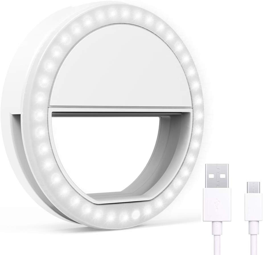 Selfie Ring Light Portable Clip On Led Adjustable Brightness Circle Light Compatible with iPhone Android Cell Phone Laptop Camera Video Photo Make up for Night Time White